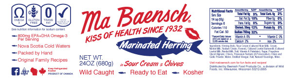 Herring in Sour Cream & Chives Label