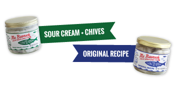 2 flavor of Ma Baensch Marinated Herring - Sour Cream and Chives and Original