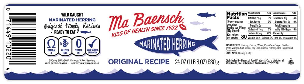 Herring in Original Recipe Label