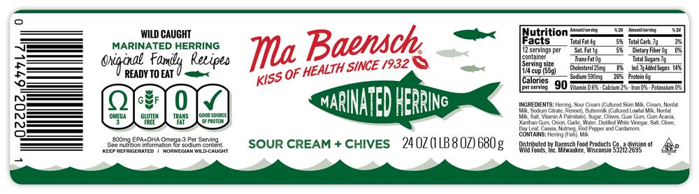 Herring in Sour Cream & Chives Label